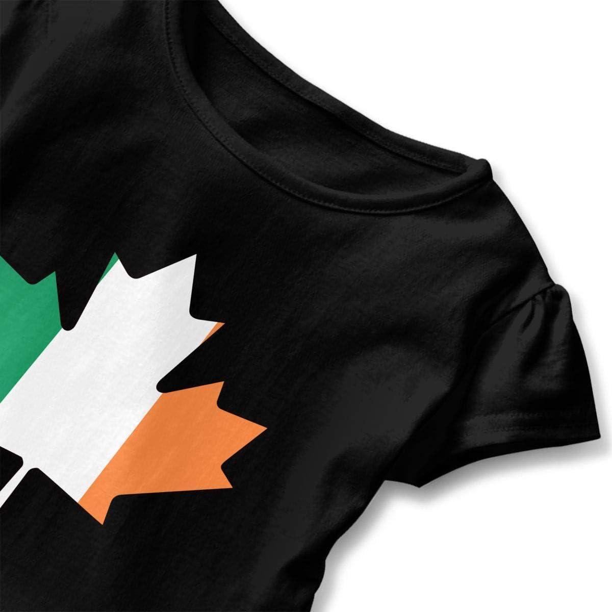 Irish Flag Canada Maple Leaf-1 T Shirts Kids Girls Short Sleeve Ruffles Shirt Tee for 2-6T
