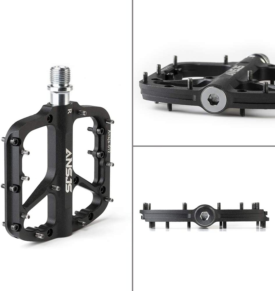 Ansjs Mountain Bike Pedals MTB Pedals Bicycle Flat Pedals Aluminum 9//16 Sealed Bearing Lightweight Platform for Road Mountain BMX MTB Bike