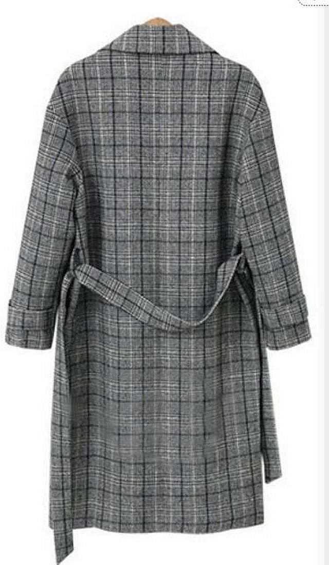 OTW Womens Plus Size Relaxed Wool Blend Lattice Trench Jacket Pea Coat Overcoat