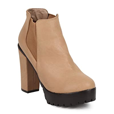 Women Leatherette Round Toe Chunky Heel Platform Chelsea Bootie DJ90 - Taupe Leatherette | Boots