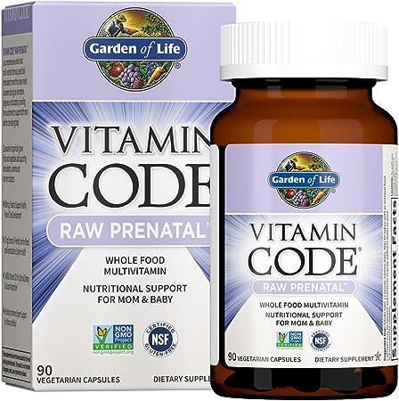 Garden of Life Vitamin Code Raw Prenatal Multivitamin, Whole Food Prenatal Vitamins with Iron, Folate not Folic Acid, Best Vegetarian Gluten Free Prenatals for Women, 90 Capsules