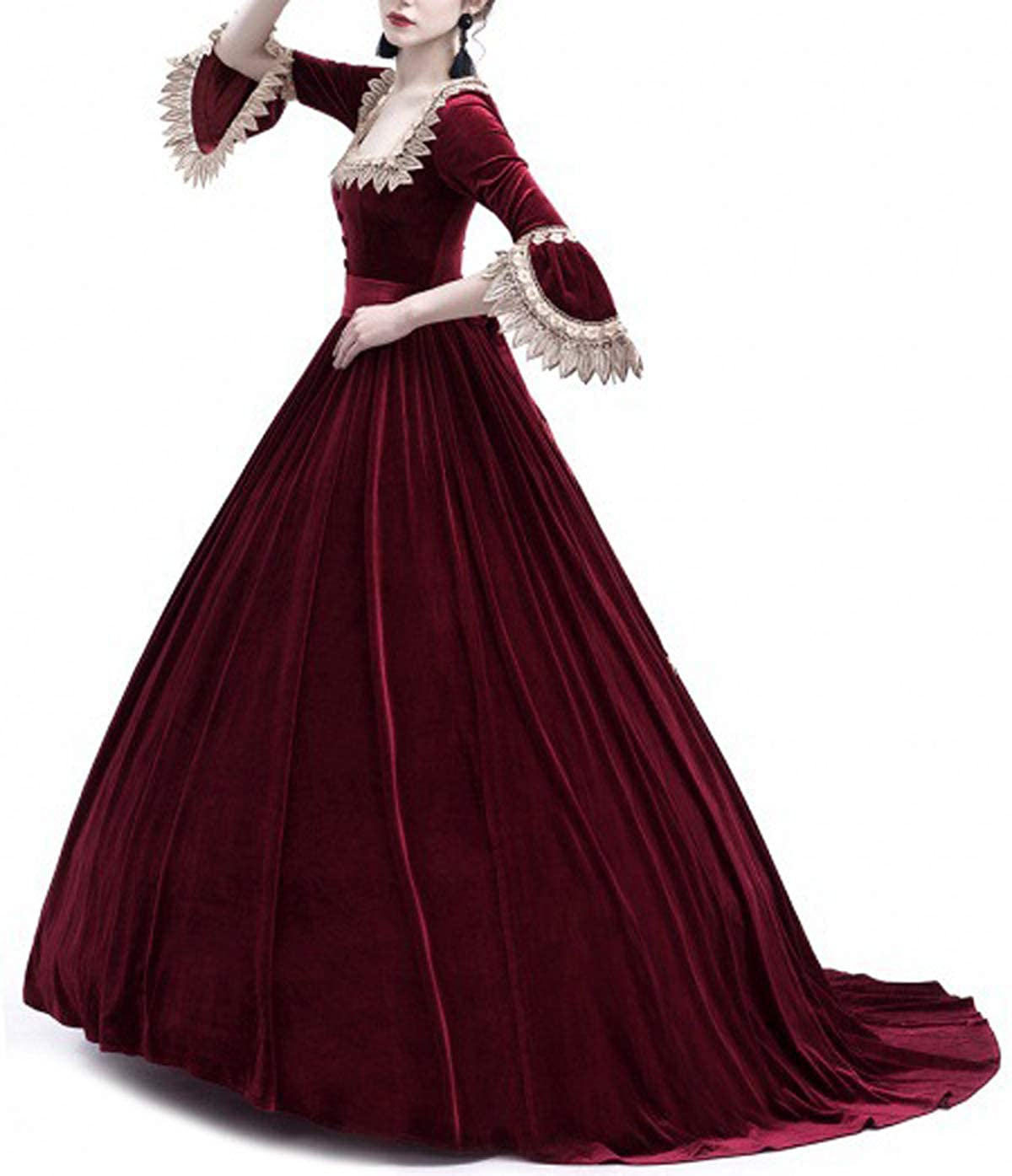 Primavera y Oto ñ o Medieval Renacimiento Disfraz de Reina Elegante Vintage  Cuello Cuadrado Cuerno Manga Vestido ... c3961a3f0ad0