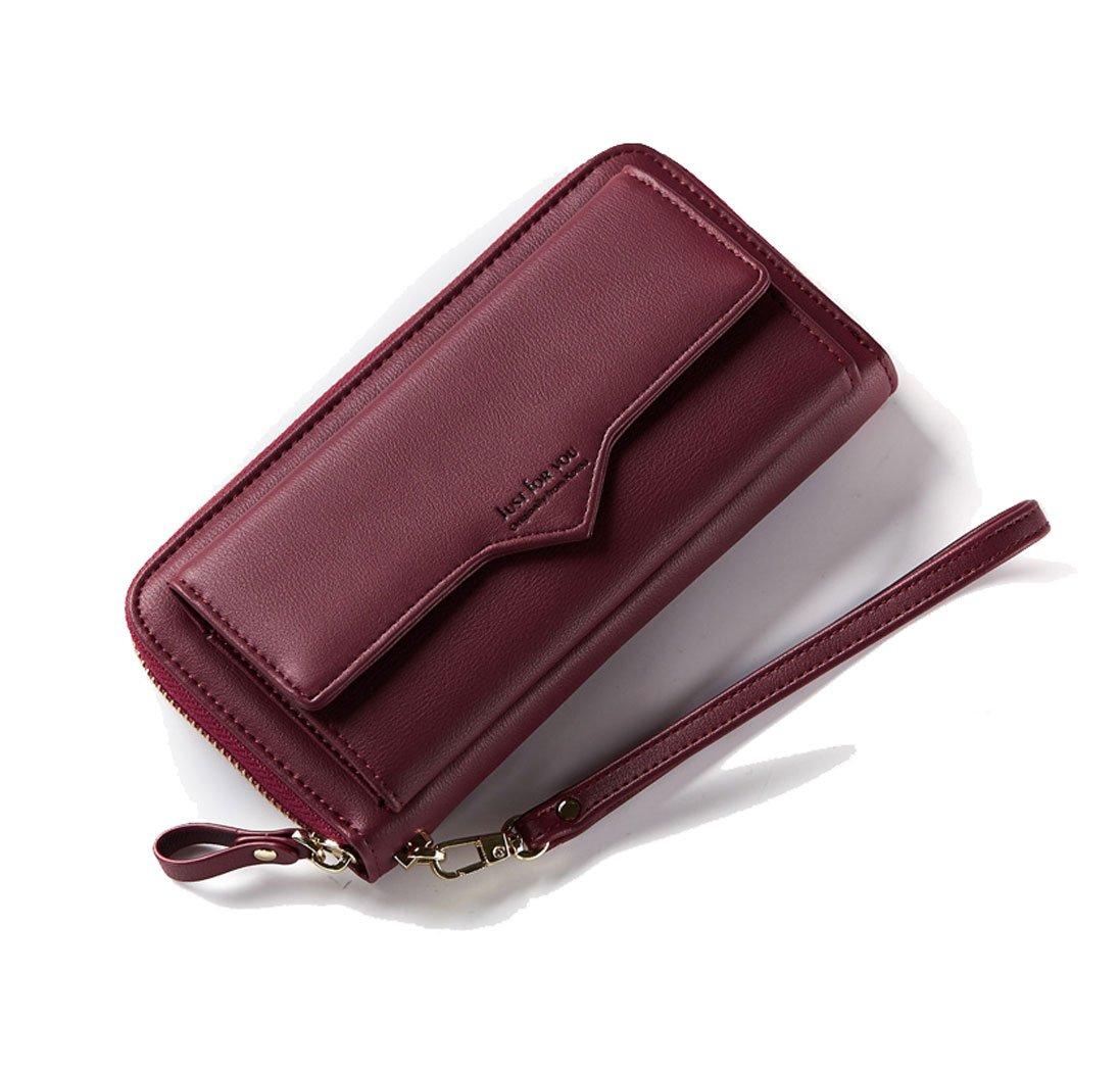 Women Wallet Genuine Leather Clutch Wallet Fashion Card Holder Purse Zipper Handbag Wristlet Strap Front Pocket Smart Phone Winered