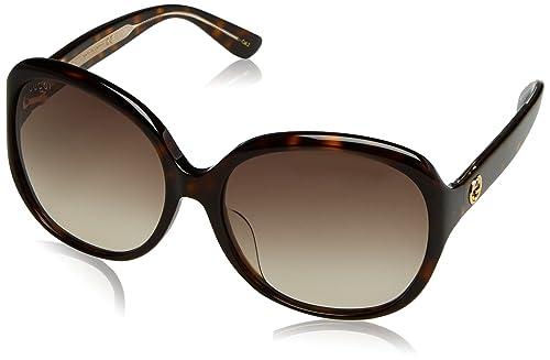 Gucci GG0080SK, Gafas de Sol Para Mujer, AVANA-AVANA-BROWN