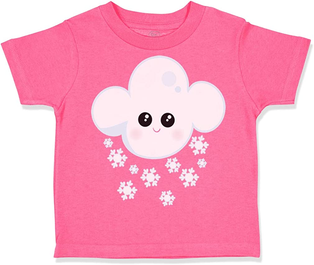 Custom Toddler T-Shirt White Snow Cloud Cute Face Cotton Boy /& Girl Clothes