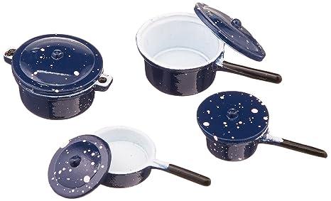 Timeless Minis - Juego de ollas y sartenes con Tapa, 8 Unidades, Color Azul