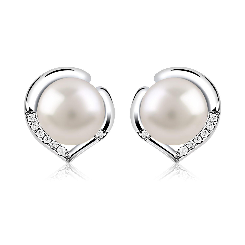 B.Catcher Silver Pearl Earrings 925 Sterling Silver Freshwater 8mm Pearl Studs Earrings Heart Set Valentines Day Gift