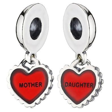 Mum & Daughter Red Heart Charm Bead - 925 Sterling silver - fits Pandora, Biagi & Troll bracelets