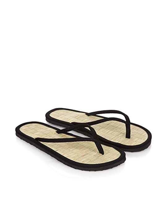 b32b1ac255fcf8 Accessorize Plain Black Seagrass Flip Flops - Womens - Large  Amazon.ca   Shoes   Handbags