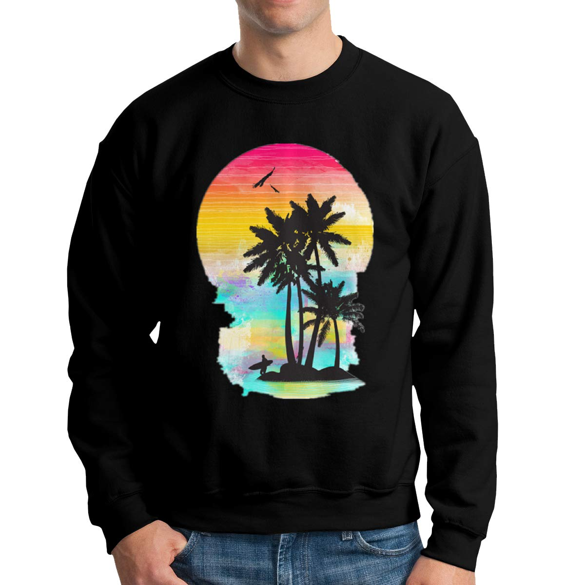 TADMAD Color of Summer Mens Crew Neck Hoodie Sweatshirt