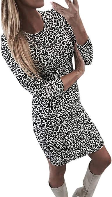 Robe Moulante Sexy Imprime Leopard Overdose Solde Robes Femme Hiver Manches Longues Fete Lady Chic Courte Mini Dress Amazon Fr Vetements Et Accessoires