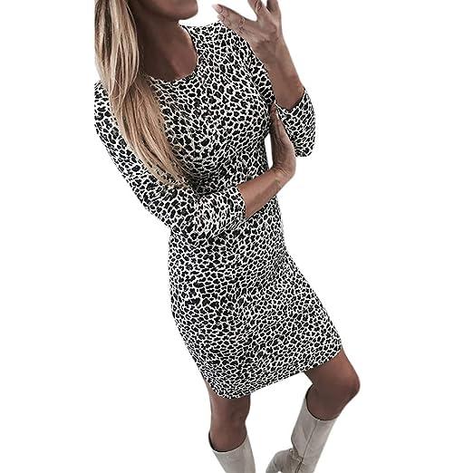 Amazon.com  Amlaiworld Women s Casual Leopard Print Long Sleeve Dress  Womens Sexy Elegant Square Neck Work Business Dress  Clothing b39b3d838