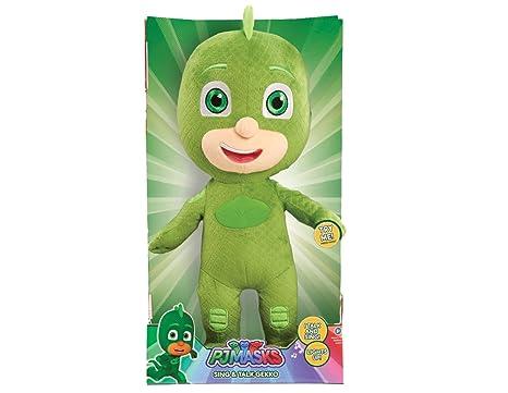 amazon com pj masks just play sing talk plush gekko green toys
