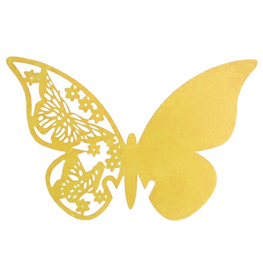 50pcs Carte Nom Marque Place Papillon en Papier Nacré Décor Verre de Vin Perlé Mariage Anniversaire - Jaune doré, 110 x 70 mm Generic STK0156012217