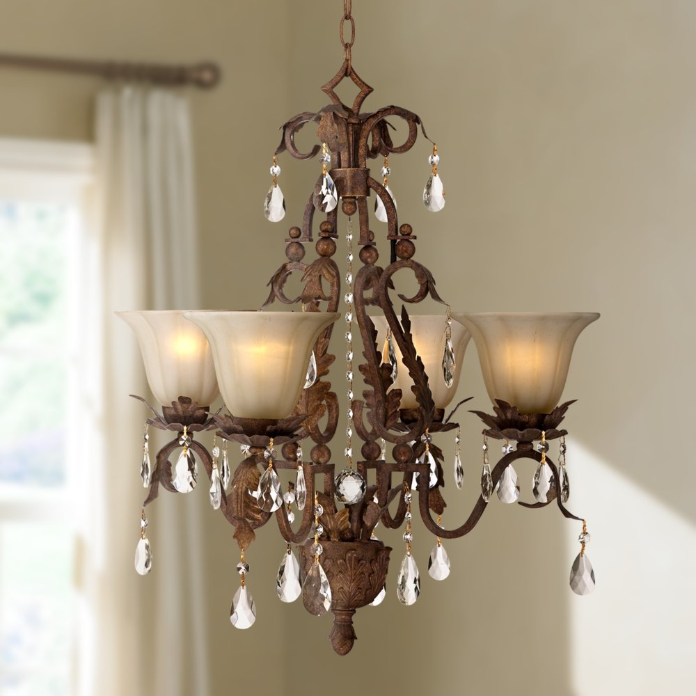Iron leaf 4 light roman bronze and crystal chandelier universal iron leaf 4 light roman bronze and crystal chandelier universal lighting and design chandeliers amazon arubaitofo Images