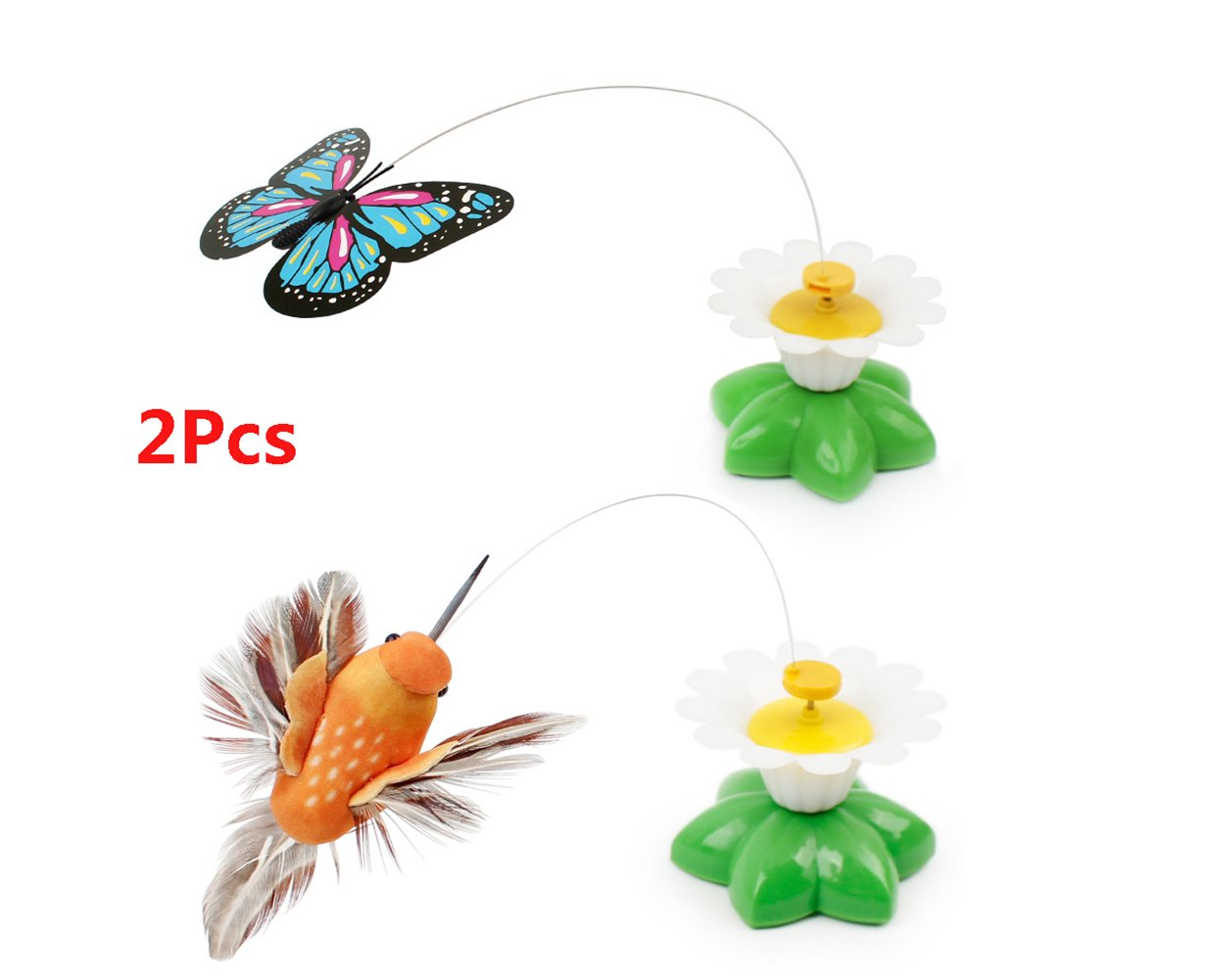 Funny Pet Cat Toys Butterfly Cat Kitten Playing Toys Litter Birds Spinner Whirling Wiggler Fly Toy