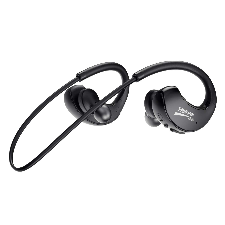 DACOM Bluetooth Headphones Sport, 12Hrs Bluetooth 5.0 Wireless Sport Earphones, IPX7 Waterproof Running Headphones CVC 8.0 Noise Cancelling Mic, Bluetooth Earphones Comfort-Slanting Black