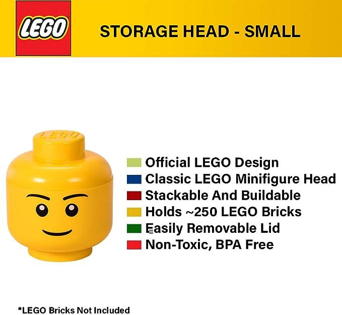 Lego Mini-Figure Storage Head Small Smiley Face Tongue Out