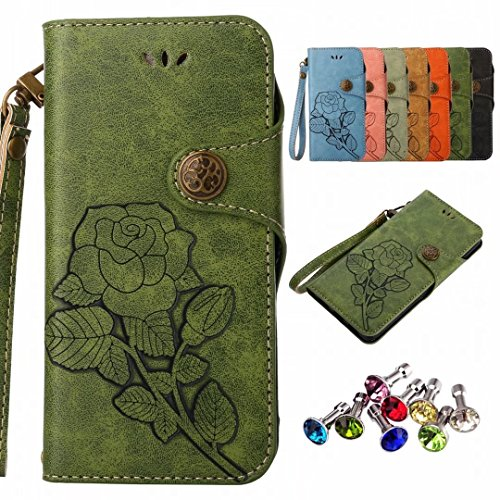 Huawei Cases P9 Lite Lid Design Yiizy Roses Housing Cover Skin Leather Wallet Flip Cover Flap Cover Silicone Case Tpu Magnetic Shell Protector Bumper Slim Stand Style Card Slot Green