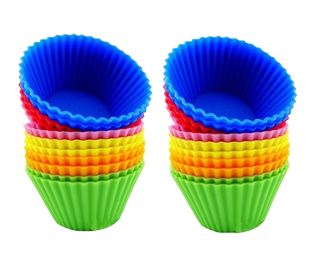 24 Pack Non-stick Jumbo Silicone Cupcake Round Muffin Molds Liners Baking Cups Restbuy