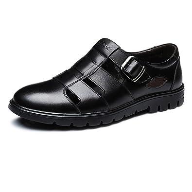 Ruiyue Leder-Müßiggänger-Männer, Klassische Echte Lederschuhe Breathable Perforation Slip-on Flache Sohle Loafer Schuhe für Männer (Farbe : Brown, Size : 42 EU)