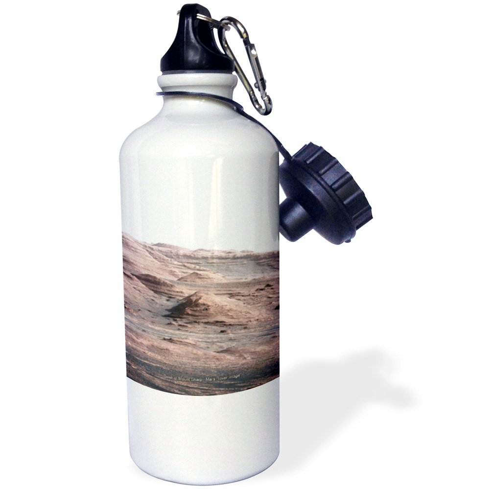 3dRose wb_76835_1 ''Solar System Base of Mount Sharp Mars Rover Image'' Sports Water Bottle, 21 oz, White