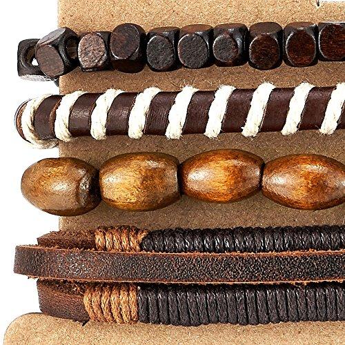 Lederarmband damen zum wickeln  4 Braun Wickeln um Strap Armband Herren Damen, Multi-Strang Perlen ...