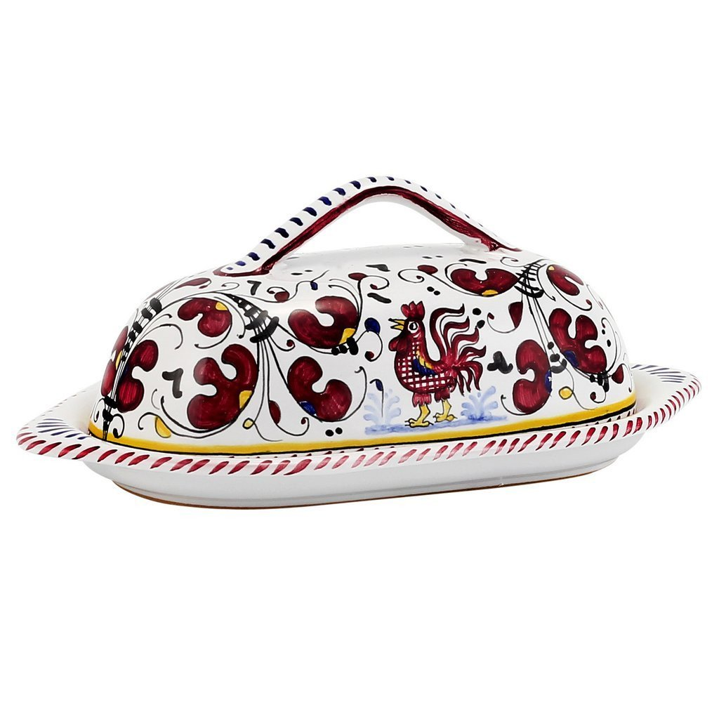 Orvieto red rooster : Butter Dish withカバー   B07BLLF56D