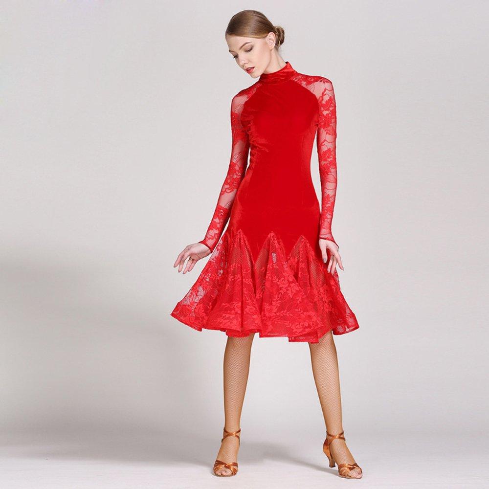 超高品質で人気の 現代の女性大きな振り子ベルベットモダンダンスドレスタンゴとワルツダンスドレスダンスコンペティションスカート長袖レースダンスコスチューム B07HHSWXNM Large Red Large Red Red Red Large Large, ヒルカワムラ:3bc4f012 --- a0267596.xsph.ru
