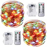 AMIR Fairy String Lights, 16.4ft 50 Led Starry Lights Remote Control, Multicolor 8 Modes Waterproof Decorative Lights Battery Operated Garden Wedding Christmas (Battery Not Included - 2 Pack)