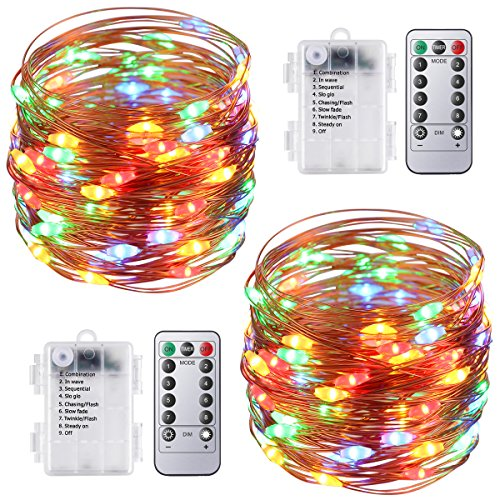 AMIR Fairy String Lights, 16.4ft 50 Led Starry Lights With Remote Control, Multicolor 8 Modes Waterproof Decorative Lights Battery Operated For Garden Wedding Christmas (Battery Not Included - 2 Pack)