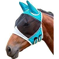 Máscara de mosca de malla fina con orejas respirable máscara de caballo anti mosquito para caballo azul y blanco S