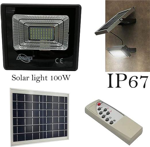 Faro led smd esterno con pannello solare luce bianca 6500k con telecomando ip65