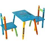 """Bebe Style Table et 2 Chaises Enfant """"Crayon"""" Chambre Meuble Mobilier Banc Chaise en Bois"""