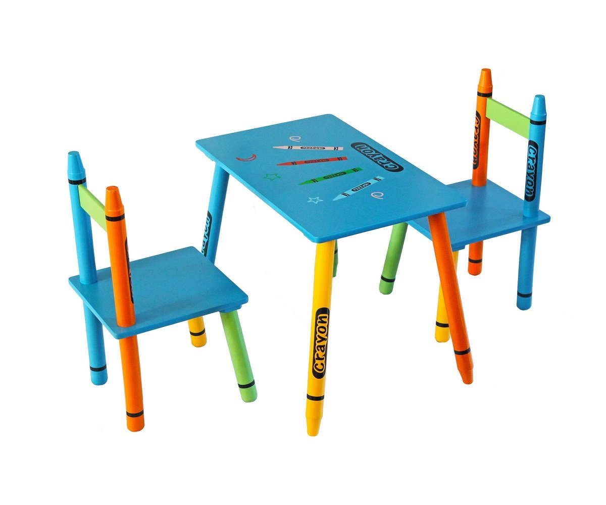 Kiddi Style Childrens Wooden Table and Chair Set, Blue: Amazon.co.uk ...