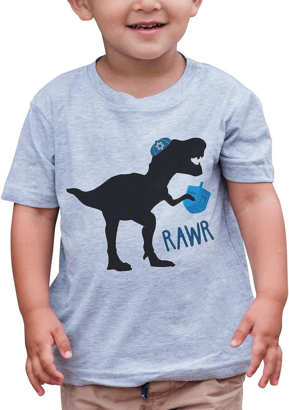 7 ate 9 Apparel Kids Funny Dinosaur Hanukkah T-Shirt