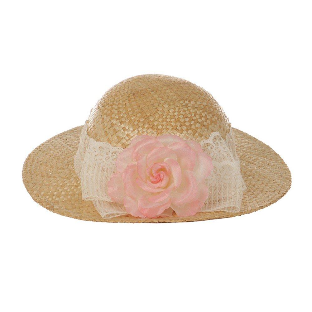 Kid's Dream Girls Straw Pink Detachable Flower Lace Fancy Summer Hat 20''