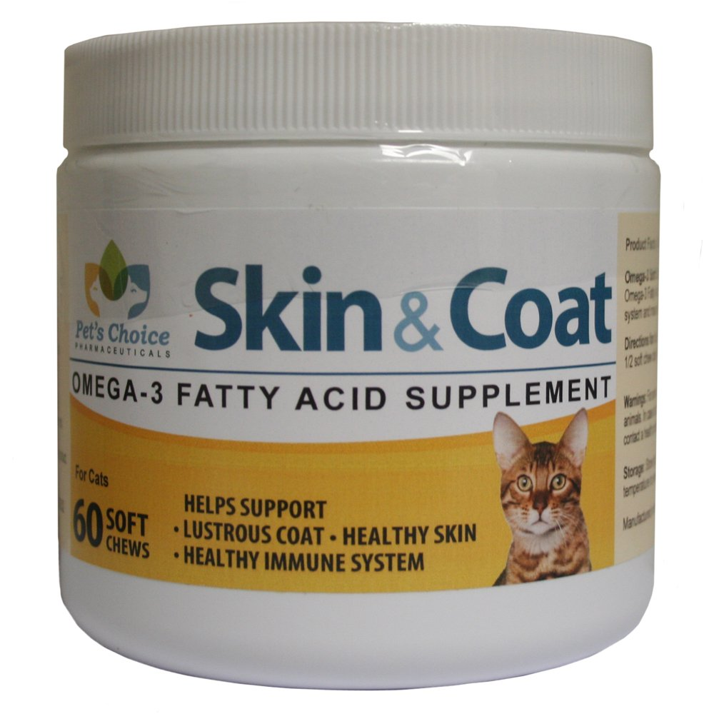 Pet's Choice Pharmaceuticals C60 60 Count Skin & Coat Omega-3 Soft Chews for Cats, One Size
