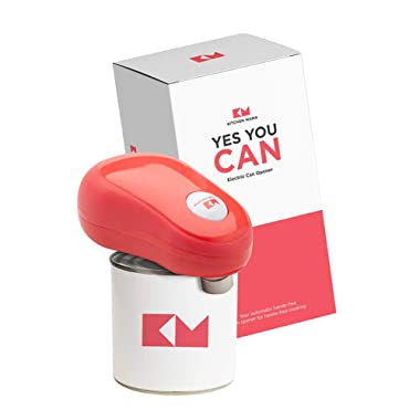 Kitchen Mama One Touch Electric Can Opener: Open Your Cans with A Simple Push of Button and Automatic Shut-off - No Sharp Edge, Food-Safe and Battery Operated (Red)