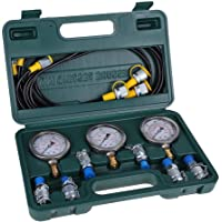 Wifehelper Hydraulic Pressure Gauge Kit, Excavator Parts Hydraulic Tester Pressure Test Kit with Testing Hose Coupling and Gauge for Excavator Construction Machinery