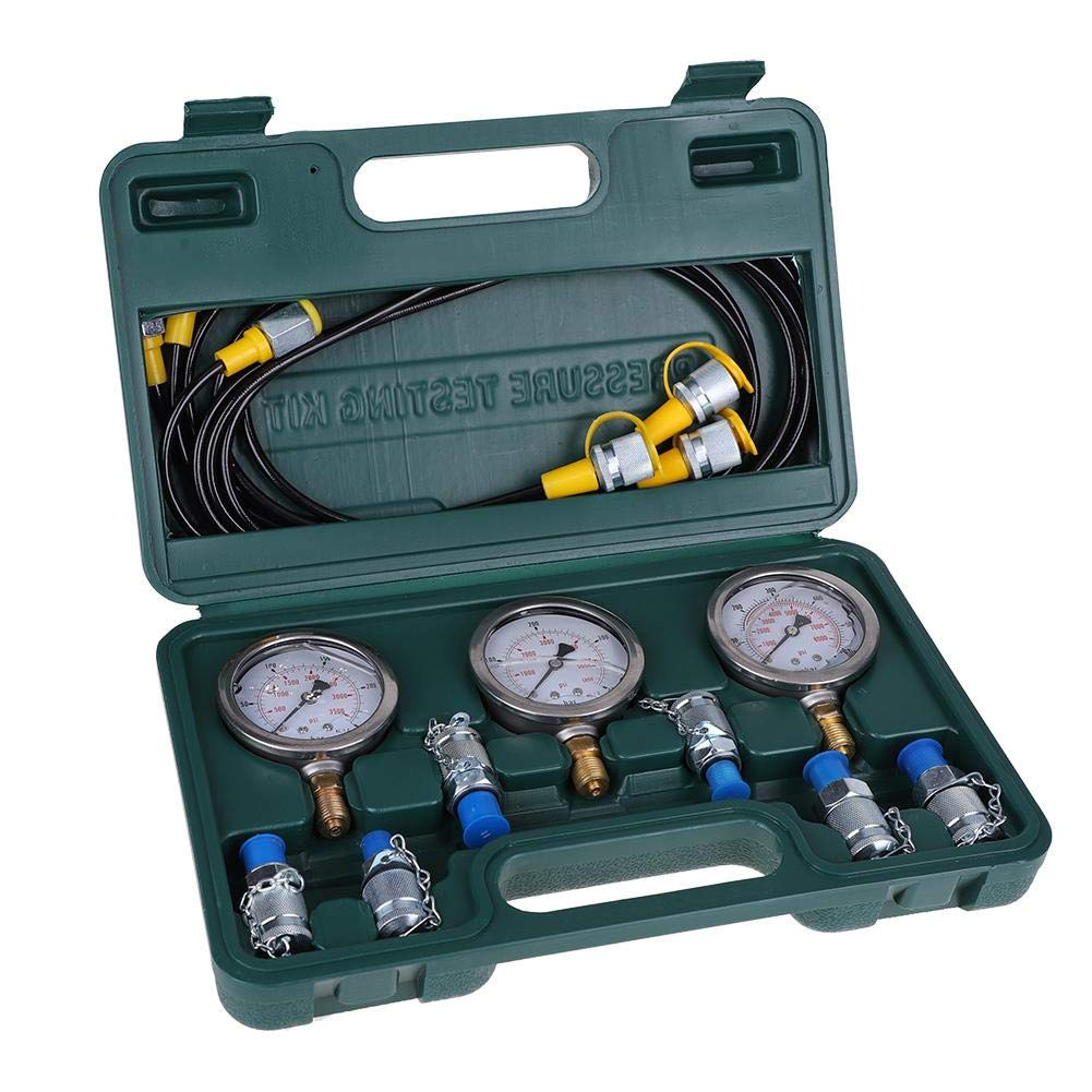 Hydraulic Pressure Gauges Kit, VBESTLIFE Digital Hydraulic Gauge Test Parts with Couplings, Hoses, Pressure Gauges for Excavator Construction Machinery