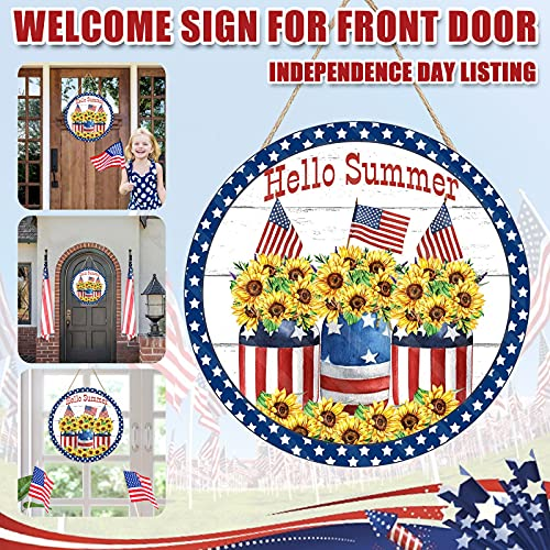 Patriotic Welcome Sign Front Door Round Wood Sign Hanging Welcome Wreaths, Independence Day Door Sign, Welcome Door Sign Wood Front Porch Decor Farmhouses for 4th of July (F)