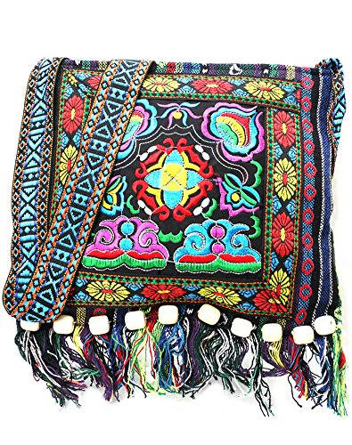 Fringe Tassel Shoulder Messenger Bag Women Hobo Shoulder Bags Crossbody Tote Handbag (10x11 Inches, Blue) Beaded Hobo Purse Handbag