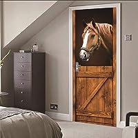 PinchPIPI 3D-deursticker, met paardenmotief, pvc, zelfklevende deurfolie voor binnendeuren, waterdicht, afneembaar…