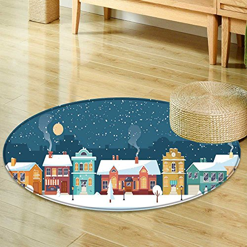 Panorama Landscape (Small round rug Carpetsnowy night in cozy town city panorama winter village landscape door mat indoors Bathroom Mats Non Slip-Round 24