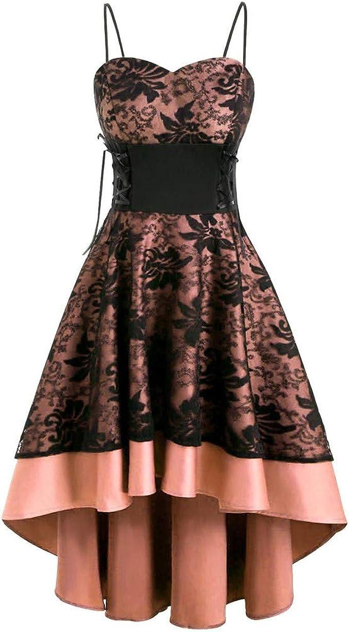 Damen Elegant Abendkleider Prom Swing Kleider,Frauen Vintage Cami Bandage  Lace Up High Low Kleid Partykleid Spitzenkleid Brautjungfernkleider