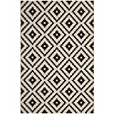 Modway R-1134A-810 Perplex Geometric Diamond Trellis Indoor and Outdoor Area Rug, 8X10, Black and Beige