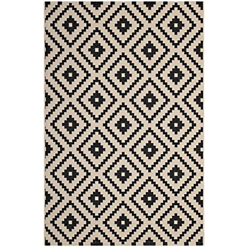 - Modway Perplex Geometric Diamond Trellis 8x10 Indoor and Outdoor Area Rug in Black and Beige
