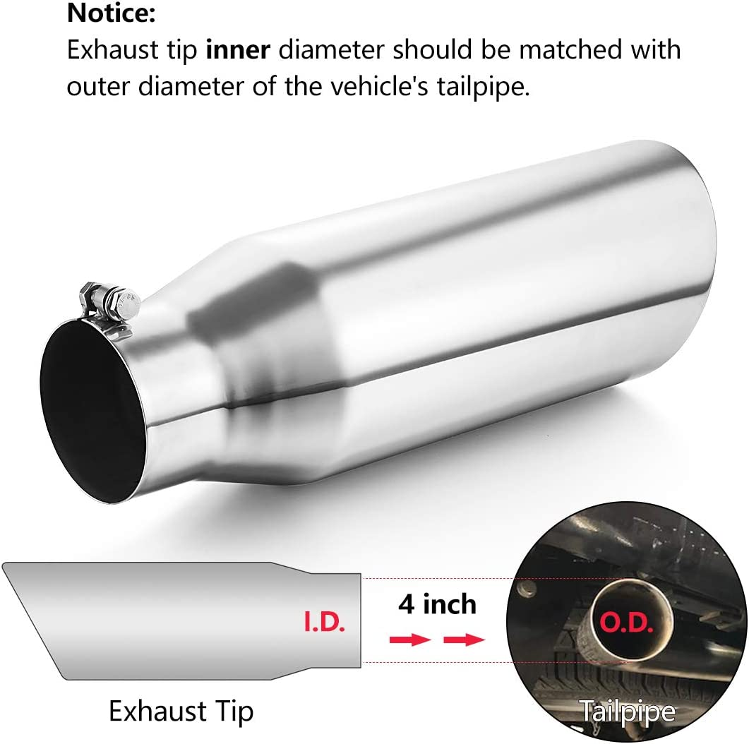A-KARCK Exhaust Tip 4 Inch Inlet Universal 4 Inlet 6 Outlet 18 Long Stainless Steel Bolt On Exhaust Tailpipe Polished Muffler Tip for Truck