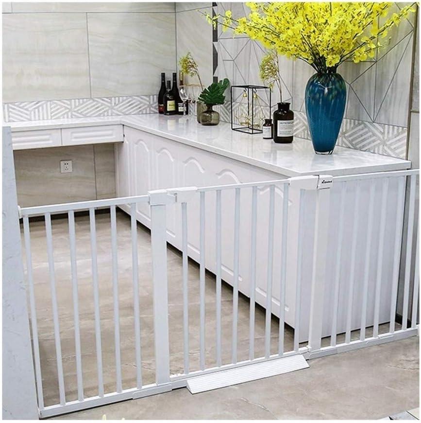 ベビーゲート 無料パンチ子供の安全ドアバー階段バリア赤ちゃんの分離ドアペットフェンス犬フェンスバー (Color : White, Size : 166-173cm)